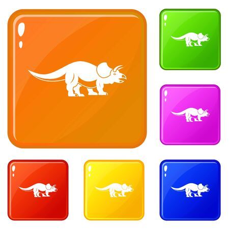 Styracosaurus icons set vector color