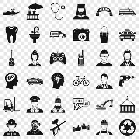 Joystick icons set, simple style