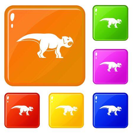 Ceratopsians dinosaur icons set vector color Ilustração