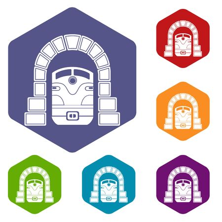 Train in tunnel icon, simple style
