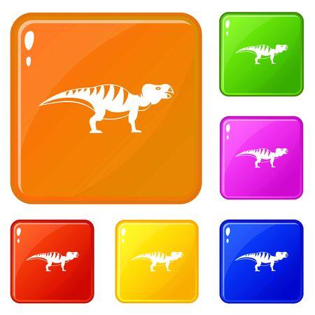 Hadrosaurid dinosaur icons set vector color Ilustração