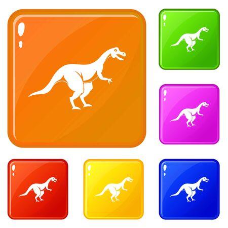 Theropod dinosaur icons set vector color