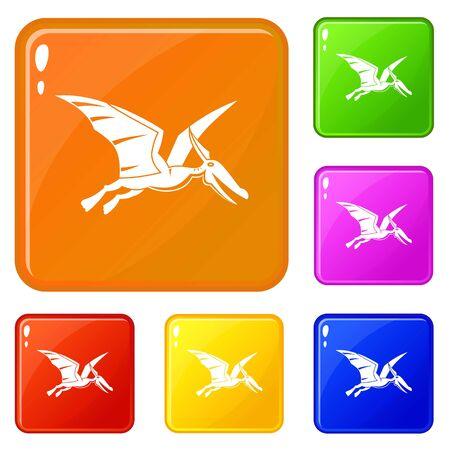 Pterosaurs dinosaur icons set vector color