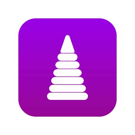Pyramid built from plastic rings icon digital purple for any design isolated on white vector illustration