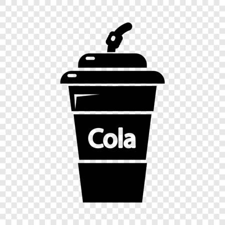 Cola plastic glass icon. Simple illustration of cola plastic glass vector icon for web Ilustração