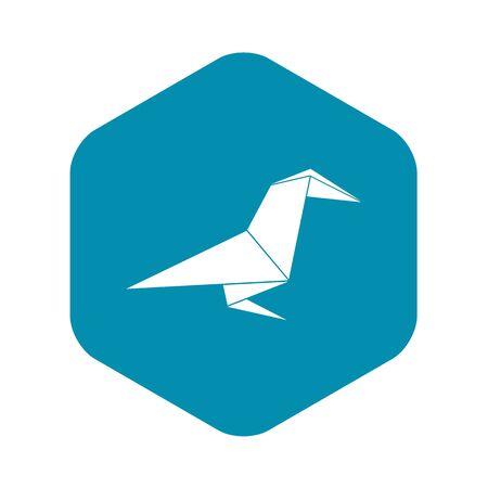 Origami raven icon, simple black style