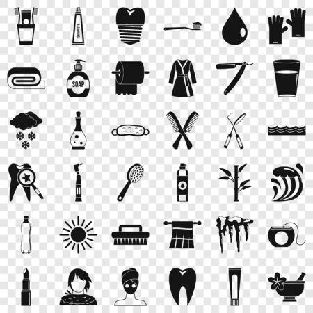 Brush icons set, simple style Stock Illustratie