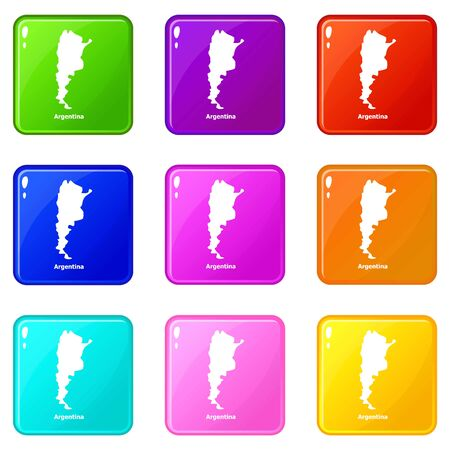 Argentina map icons set 9 color collection