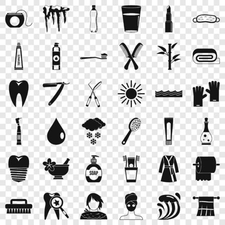 Stomatology icons set, simple style Иллюстрация