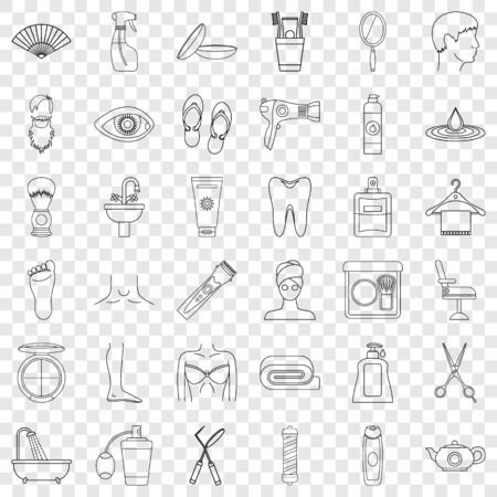 Tooth icons set, outline style