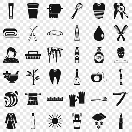 Tooth icons set, simple style