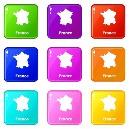 France map icons set 9 color collection