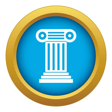 Roman column icon blue vector isolated