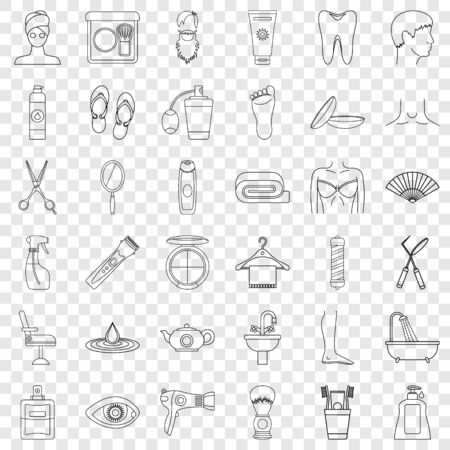 Cleaning icons set, outline style Ilustração