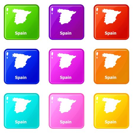 Spain map icons set 9 color collection