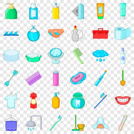 Toothpaste icons set, cartoon style Stock Illustratie