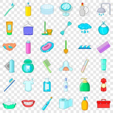 Stomatology icons set, cartoon style Stock Illustratie