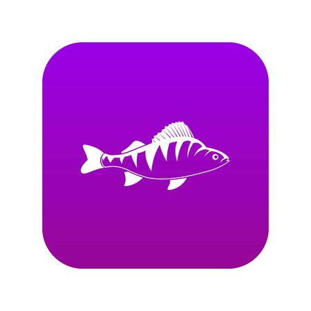 Fish icon digital purple for any design isolated on white vector illustration