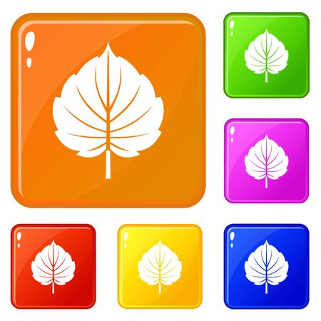 Alder leaf icons set collection vector 6 color isolated on white background