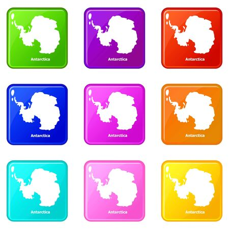 Antarctica map icons set 9 color collection