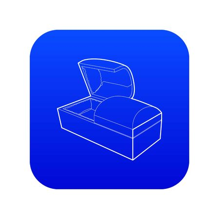 Opened coffin icon blue vector
