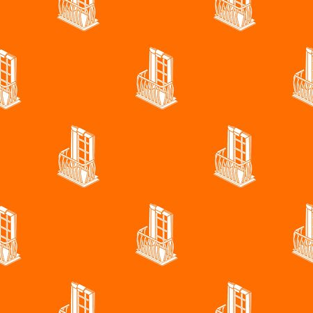 Retro balcony pattern vector orange