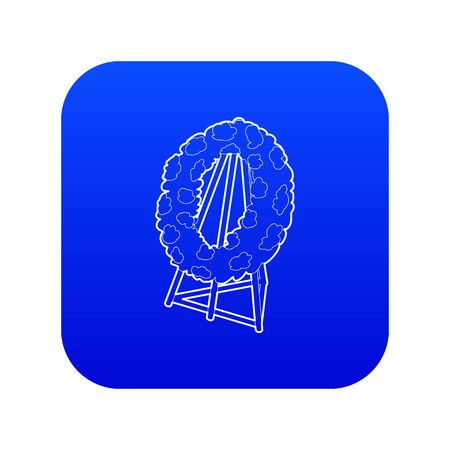 Memorial wreath icon blue vector
