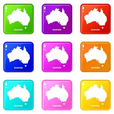 Australia map icons set 9 color collection