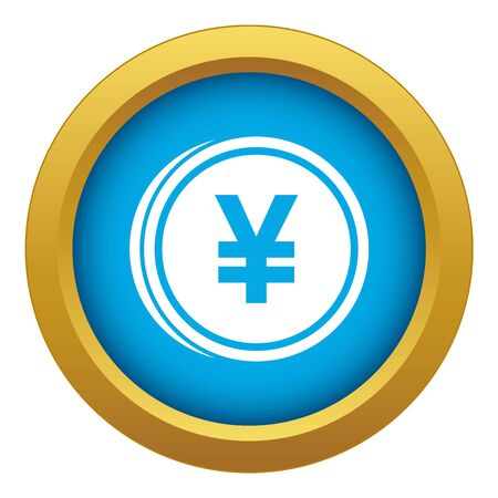 Coin yen icon blue vector isolated on white background for any design