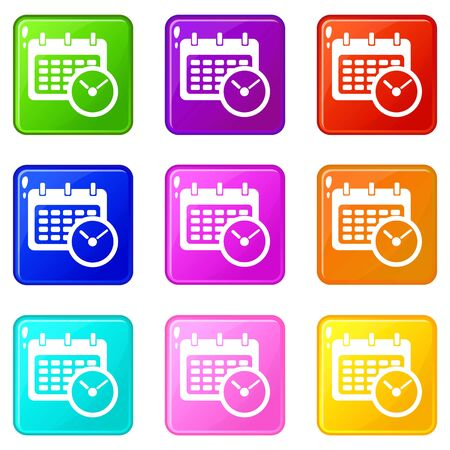 Deadline calendar icons set 9 color collection Vettoriali