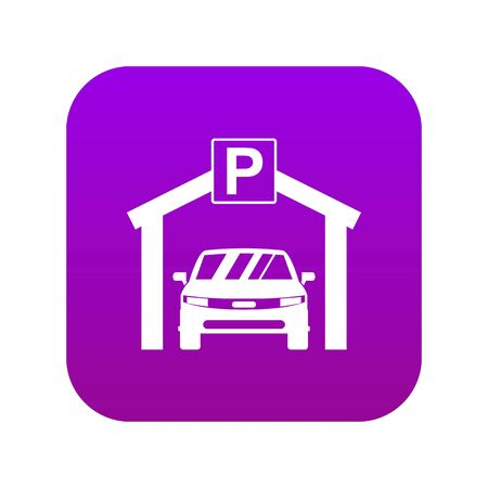 Car parking icon digital purple for any design isolated on white vector illustration