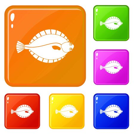 Flounder icons set collection vector 6 color isolated on white background