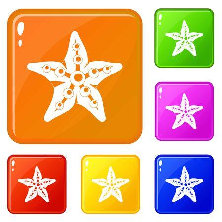 Starfish icons set vector color Ilustração