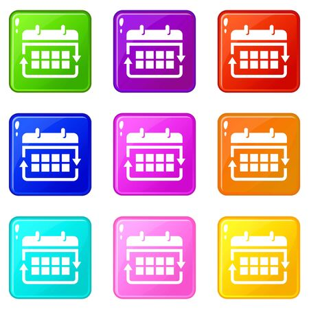 Office calendar icons set 9 color collection