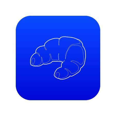 Croissant icon blue vector