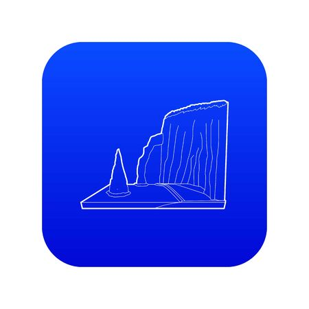 Sea cliff icon blue vector