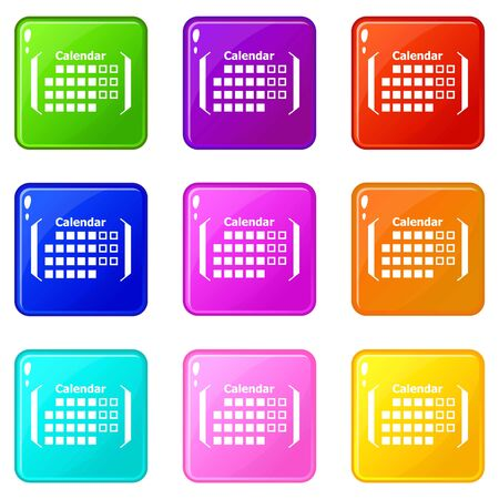 Information calendar icons set 9 color collection Vettoriali