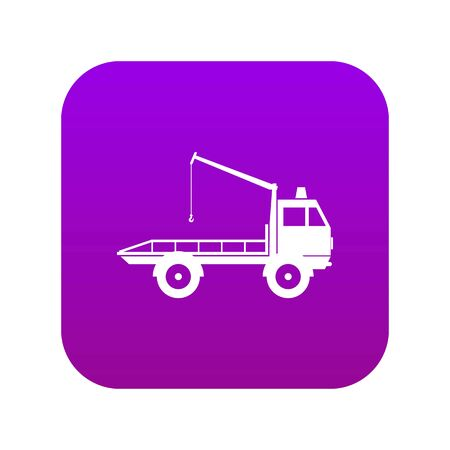 Car towing truck icon digital purple for any design isolated on white vector illustration Illustration