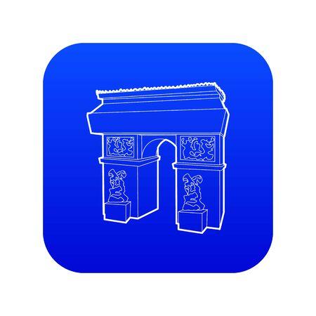Triumphal arch icon blue vector