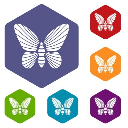Butterfly with striped pattern on wings icon in simple style isolated on white background. Insect symbol Ilustracja