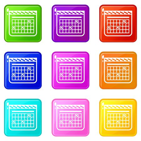 Calendar for schedule icons set 9 color collection