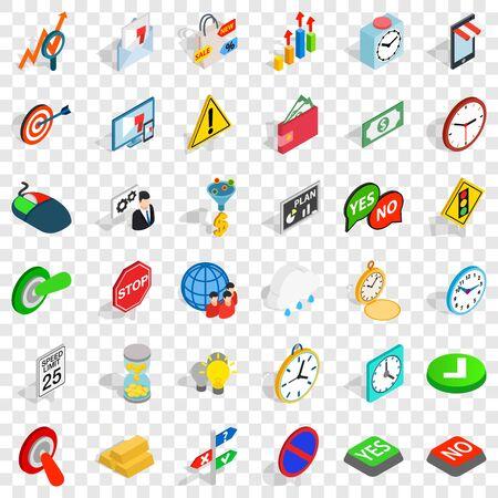 Arrow icons set, isometric style Illustration