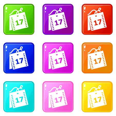 Week calendar icons set 9 color collection