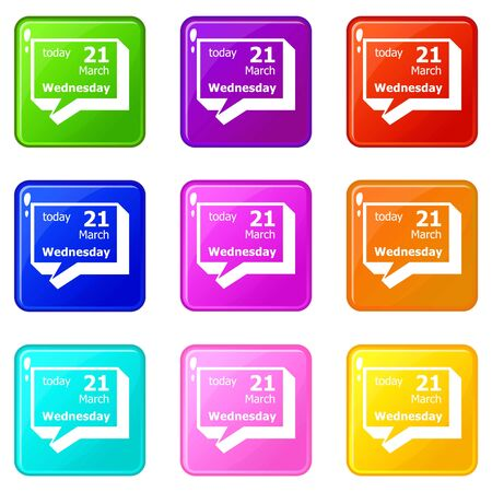 Wednesday calendar icons set 9 color collection