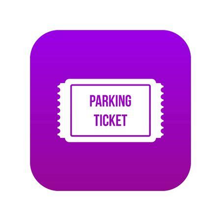 Biglietto di parcheggio icona viola digitale per qualsiasi design isolato su bianco illustrazione vettoriale