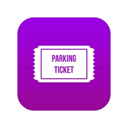 Parking ticket icon digital purple for any design isolated on white vector illustration