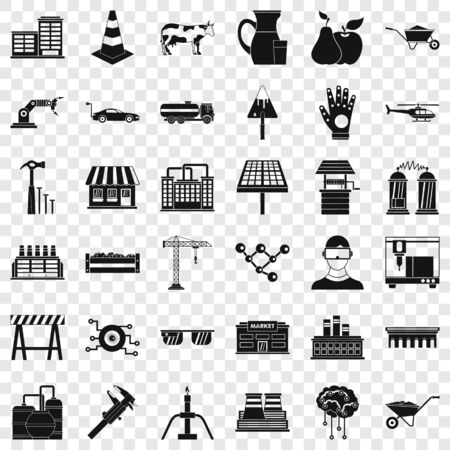 Industry icons set, simple style