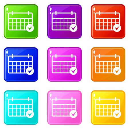 Marking calendar icons set 9 color collection