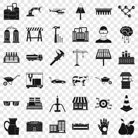 Wheelbarrow icons set, simple style