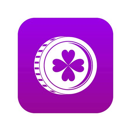Coin with clover sign icon digital purple for any design isolated on white vector illustration Foto de archivo - 130255993